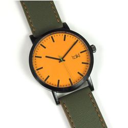 Dark Green and Orange Design Watch