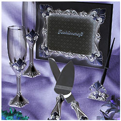 Bridal Fleur de lis Toasting Glasses, Guest Book, and Server Set