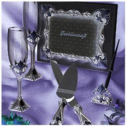 Bridal Fleur de lis Toasting Glasses, Guest Book, and Server Set