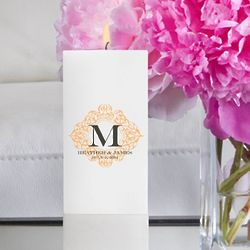 Personalized Fresh Floral Square Pillar Unity Candle
