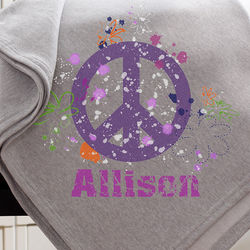 Peace Sign Personalized Sweatshirt Blanket