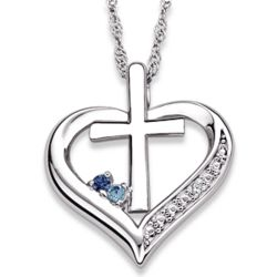 Sterling Silver Couple's Birthstone Heart Cross Necklace