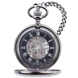 Engraved Brash Gunmetal Pocket Watch