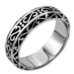 Men's Stainless Steel Promise Ring with Antique Finish