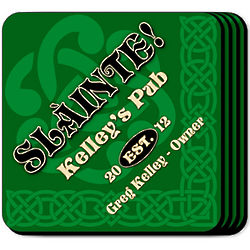 Personalized Slainte Green Coasters