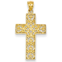 14K Gold Celtic Heart Cross Pendant