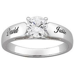 Personalized Sterling Silver Round CZ Engagement Ring