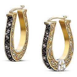 Black Beauty Sapphire and Diamond Horseshoe Earrings