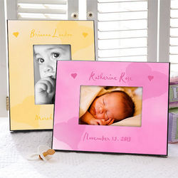 Watercolor Art Heart Design Personalized Baby Picture Frame