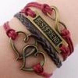 Best Friend, Heart, Infinity, and Black Leather Combo Bracelet