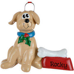 Brown Dog with Dish Personalized Christmas Ornament