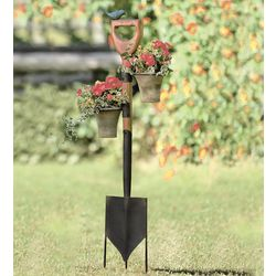 Vintage Shovel Garden Stake with Pot Holders