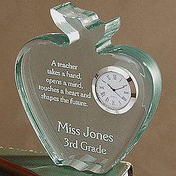A+ Teacher Acrylic Apple Clock
