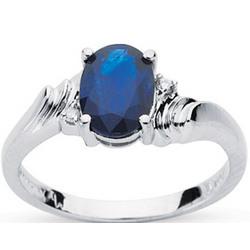Sapphire & Diamond Ring in 10K White Gold