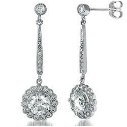 Floral Dangle Earrings in Sterling Silver CZ