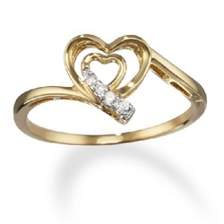 14k Gold Heart Within a Heart Diamond Promise Ring