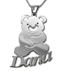 Personalized Kid's Teddy Bear Name Necklace
