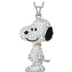 Crytstal Covered Snoopy Pendant Necklace