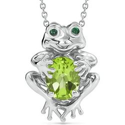 Sterling Silver Peridot Frog Necklace with Lab-Created Emerald