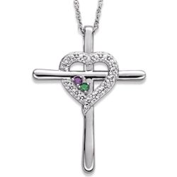 Sterling Silver Couple's Genuine Birthstone Cross Heart Necklace
