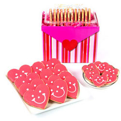 Heart Cookies and Chocolate-Dipped Mini Hearts Valentine Basket