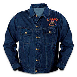 USMC Men's Denim Jacket with Embroidered Devil Dog