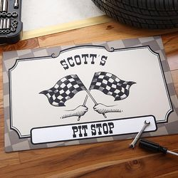 Pit Stop Racing Personalized Doormat