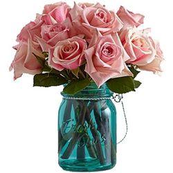 Pink Roses in Teal Blue Mason Jar