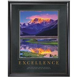 Excellence Mountain Framed Motivational Poster