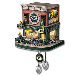 Green Bay Packers Wall Clock with Lights, Sound, and Motion