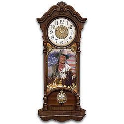 John Wayne True Patriot Stained Glass Wall Clock
