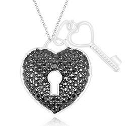 Black Diamond Accent Heart Key Pendant with Black Rhodium