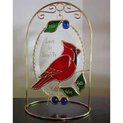 Red Cardinal Personalized Beveled Oval