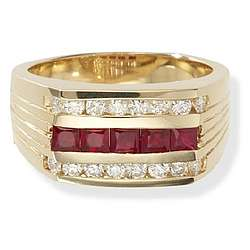 Mens 14k Gold Ruby Ring with Diamonds