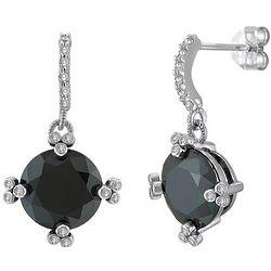 Sterling Silver Dangle Earrings in Black Round CZ