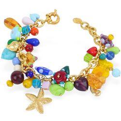 Marilena Murano Glass Marine Gold Plated Bracelet