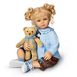 Lifelike Baby Girl Doll with Teddy Bear