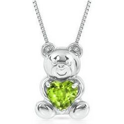 Heart-Shaped Peridot Bear Necklace with Diamond Accents