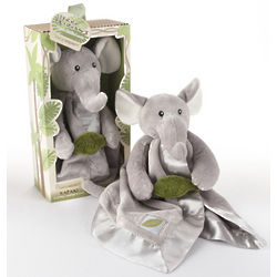 Elephant Plush Rattle Lovie Doll with Crinkle Leaf