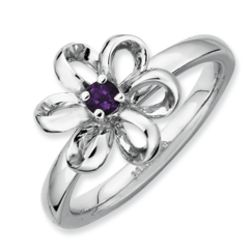 Stackable Sterling Silver Polished Amethyst Flower Ring