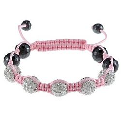 White Crystal Pink Macrame Children's Bracelet