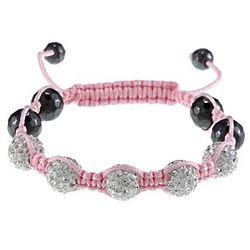 White Crystal Pink Macrame Children's Bracelet