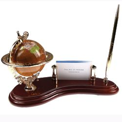 Antique Globe Pen Stand and Card Holder