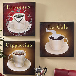 Coffee Art Clock and Prints Set