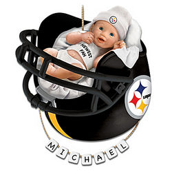 Personalized Steelers Fan Baby's First Christmas Ornament