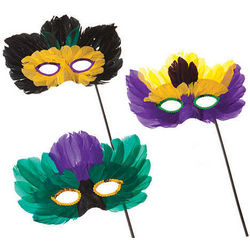 Mardi Gras Feather Masks with Holding Stick