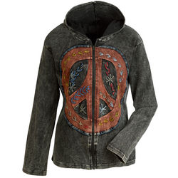Hand-Embroidered Peace Sign Hoodie