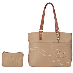 Footprints in the Sand Tote Bag with Matching Cosmetic Case
