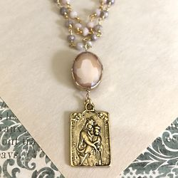 Pink Opal Scapular Medallion Necklace