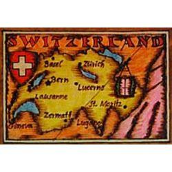Switzerland Map Leather Photo Album in Color